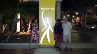 It was our first Convention! Here I am with other newly elected board members Ashley Dearborn and Martin Halacy in front of the *new* SAG-AFTRA sign at headquarters on Wilshire Blvd. in Los Angeles!